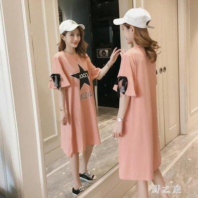 孕婦洋裝夏裝孕婦連身裙時尚款印花韓版孕婦裙中長款寬鬆大碼打底衫  KB5058