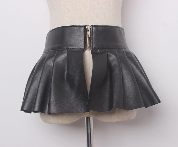 BELOCO 裙擺腰封褶皺荷葉邊花邊松緊腰裝飾寬腰帶復古簡約束腰花邊復古女BE655