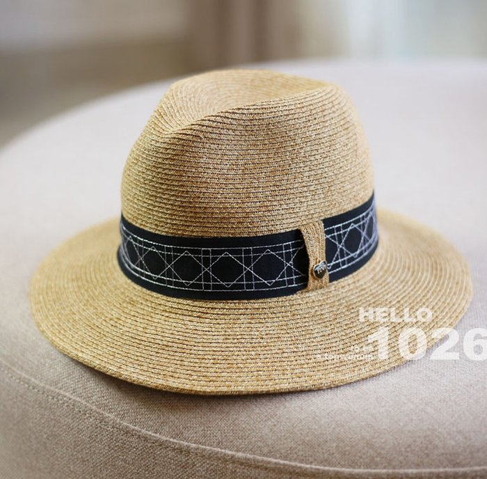 ++1026++歐美率性度假風 混色藤邊草麻線編織 防曬遮陽巴拿馬草帽 抽繩帽圍調整 幾何圖形線條 寬版絲帶緞帶紳士草帽