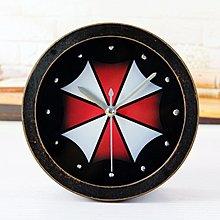 【四季居家用品】電影保護傘 鐵銹色破舊黑木頭小鬧鐘 嵌立體鉚釘創意桌面座時鐘表