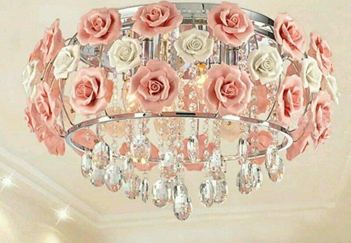 粉紅玫瑰精品屋~創意玫瑰花朵水晶陶瓷吊燈 吸頂燈~