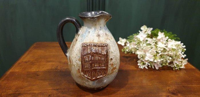 【卡卡頌 歐洲古董】德國老件 獨一無二  藝術家 簽名 美麗彩陶  手工陶  花瓶  p1732