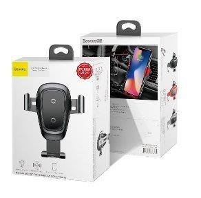 k台灣有認證 倍思 金屬重力Qi快速無線充電車用支架/車架(送QC快充雙USB車充頭)for iPhoneXS/XS