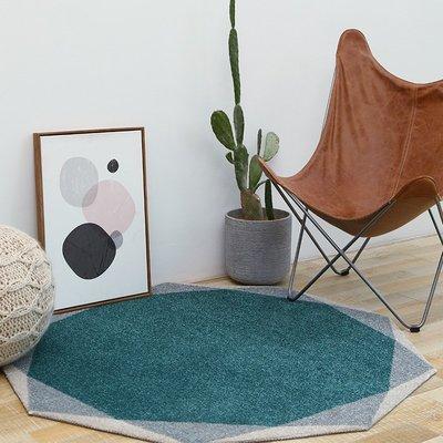 後現代輕奢客廳茶几圓形小地毯 復古設計圖案樣板房間臥室床邊墊