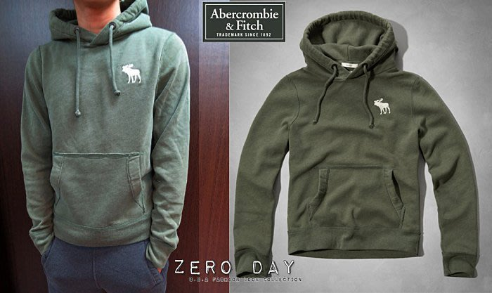 【零時差美國時尚網】A&F Abercrombie&Fitch BLUE MOUNTAIN HOODIE麋鹿刺繡帽T軍綠
