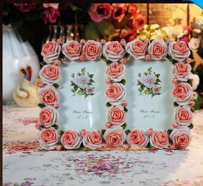 粉紅玫瑰精品屋~韓式雙孔婚禮相框/玫瑰...