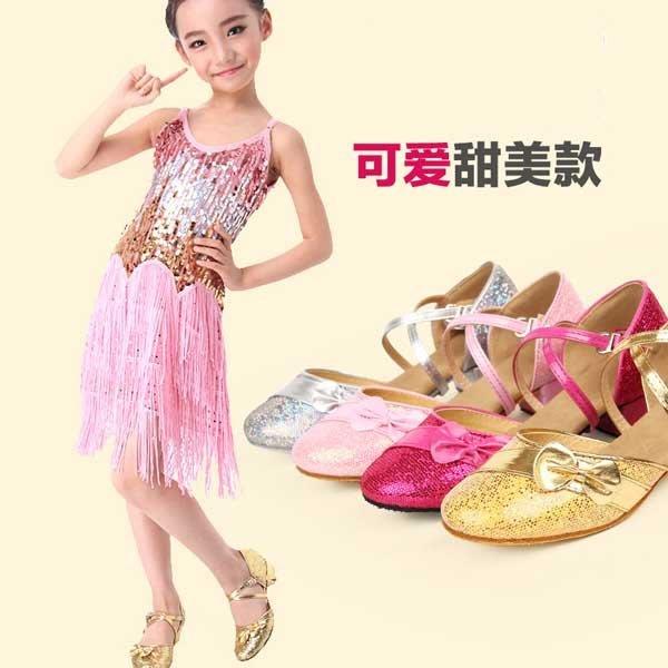 5Cgo【鴿樓】會員有優惠  12357064924 少兒拉丁舞鞋 女 兒童 女童中跟包頭舞蹈鞋 少兒軟底小孩跳舞鞋