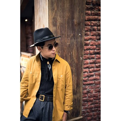 "Retrodandy - "" Chamois Shirt "" 法蘭絨布素色襯衫 - 芥黃 Mustard"