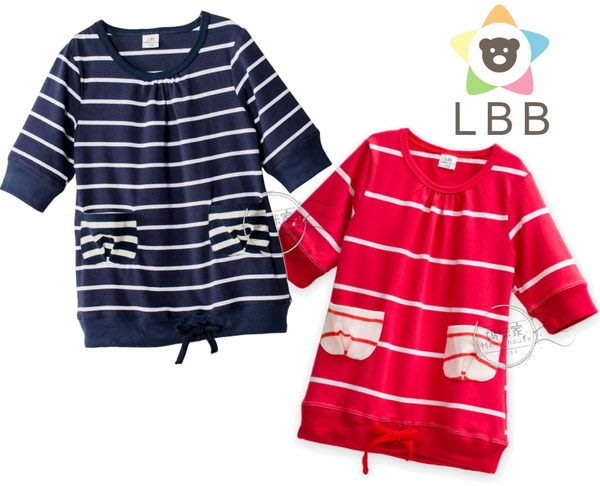媽咪家【AB016】AB16五分袖上衣 LBB 短袖 條紋 上衣 T恤 綿T 舒適 百搭~110.120.130.140.150