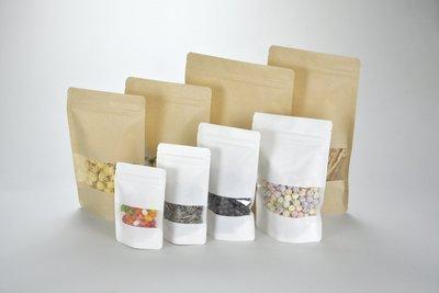 《達人包裝》黃/白牛皮牛皮開窗夾鏈立袋 大半斤(17.5*26cm) /50入/165元【蜜餞袋.果乾袋.牛軋糖袋】