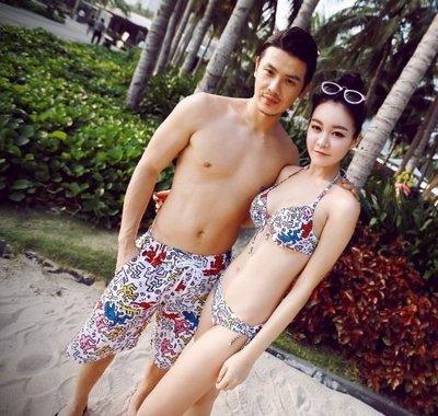 【SW0002】酷跑塗鴉設計款  情侶泳裝 - 女 2件式 比基尼 泳裝【日光e選】