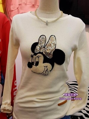 【樂蜜衣櫥】正韓 韓國空運 秋冬新品-亮片米老鼠上衣 韓國連線代購 81204