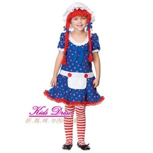 妍媽咪兒童禮服出租~Halloween Raggedy Ann細紅髮麻雀女孩~安娜貝拉萬聖節造型派對