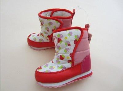 ☆☆小天使童裝童鞋☆☆現貨暖呼呼今冬時尚款日單防潑水材質草莓圖案超美兒童雪地靴童靴15CM