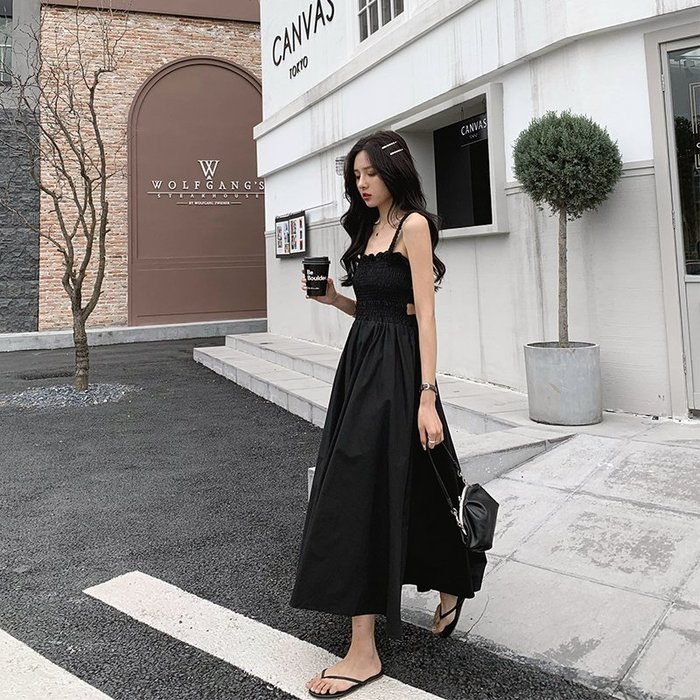 Black Market 實拍夏季A字大裙擺鬆緊腰吊帶連身裙(預購)