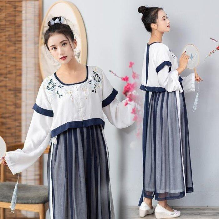 新品改良漢服中國風繡花假兩件連身裙日常漢元素學生古裝女洋裝