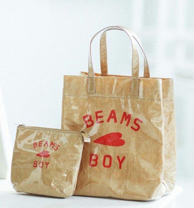 天使熊雜貨小舖~日本帶回BEAMS BOY 牛皮紙感零錢包 收納包  (手提袋另售)全新現貨