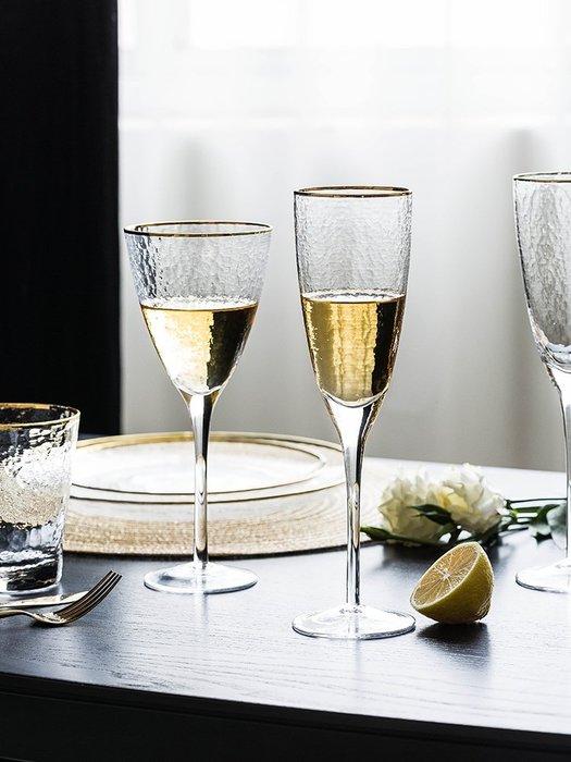 SX千貨鋪-酒杯錘目紋玻璃金邊酒杯家用紅酒雞尾酒香檳杯酒具套裝#玻璃杯#酒杯#水杯#茶杯#杯子套裝