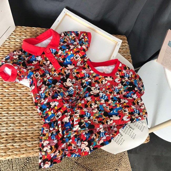 •*~ 辣媽咪衣飾小舖 ~*•❤童裝系列❤K930101韓版兒童夏裝可愛萌款滿印卡通POLO衫 (洋裝) 兄妹裝