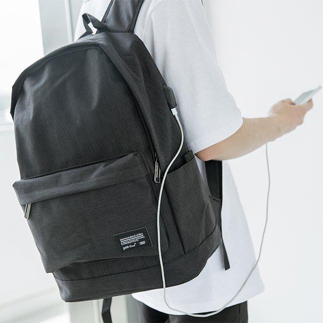 【FAT CAT HOUSE胖貓屋】大容量可充電帆布雙肩包 大學生書包 後揹包 電腦包
