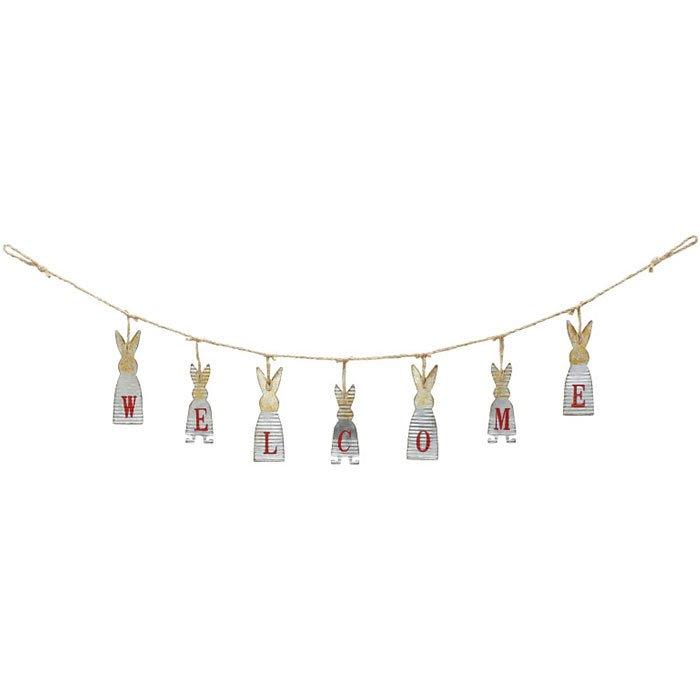 《齊洛瓦鄉村風雜貨》日本zakka雜貨 復古仿舊Welcome歡迎光臨掛飾 玄關吊飾 壁掛裝飾 鐵製兔子造型掛飾