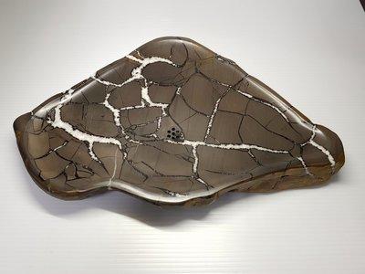 石在有趣~龜甲石茶盤~紋美又夠大