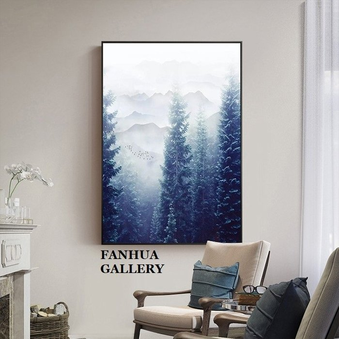 C - R - A - Z - Y - T - O - W - N 森林風景山脈瀑布掛畫現代新中式裝飾畫簡約客廳沙發背景牆風水畫artprint gallery