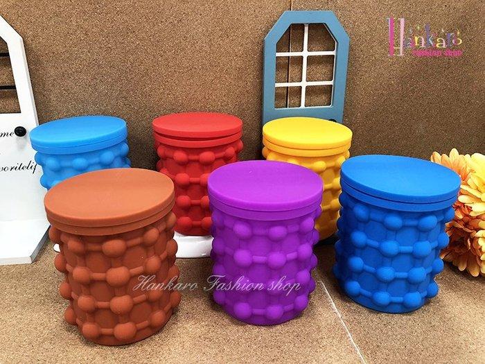 ☆[Hankaro]☆ 創意彩色矽膠冰桶造型製冰器附手掌造型夾