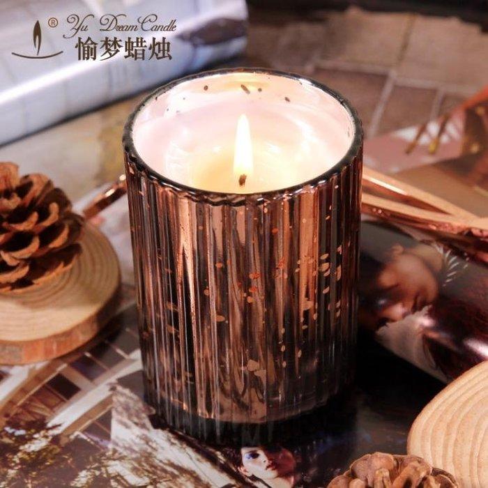 天然精油檀香蠟燭助眠香薰蠟燭香氛蠟燭杯熏香蠟燭無煙香味大豆蠟