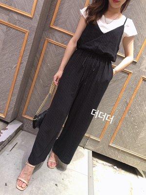 小艾莉-韓版-修身顯瘦直線紋連身褲套裝-D042805