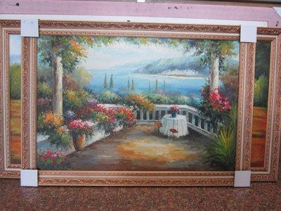『府城畫廊-手繪油畫』歐風-地中海風景畫-畫風細膩獨特-72x102-(含框價,可換框)-有實體店面-請查看關於我聯繫-