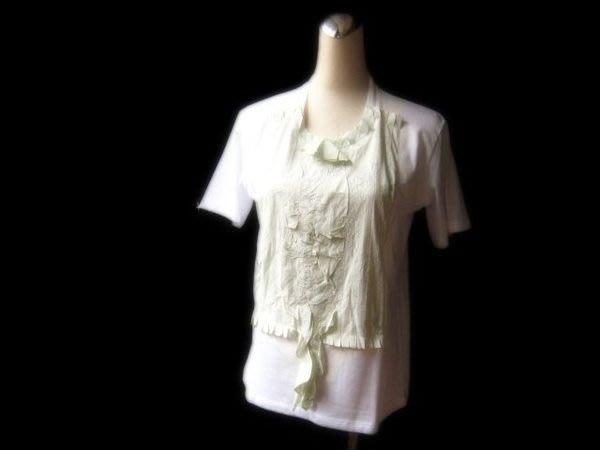 *Beauty*PRADA白色淺薄荷綠棉T恤 原價24000元 附吊牌WE12