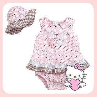 HM嬰幼館【C417】 2012新款女寶寶女童甜美Hellokitty可愛背心哈裙+帽子2件套裝80-95cm