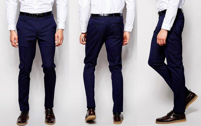 ◎美國代買◎ASOS優雅顯廋線條的英倫紳士雅痞風海軍藍西裝長褲~英倫街風~大尺碼