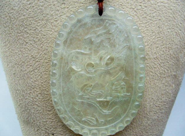 [吉宏精品交流中心]A貨 天然翡翠 玻璃種 白翡 龍造型 墬子(附證書)