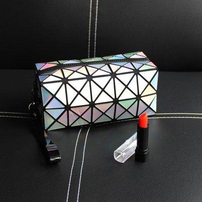 手包式便攜化妝包韓國小號簡約鐳射幾何旅行大容量收納包化妝袋潮