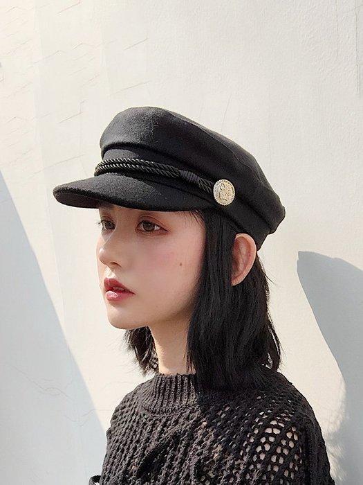 衣萊時尚-熱賣款 美歐慧黑色海軍帽子女韓版英倫百搭秋冬季潮牌時尚歐美街頭貝雷帽