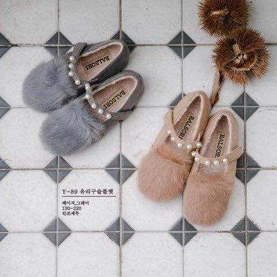『※妳好,可愛※』韓國童鞋babyzzam 巴黎時尚珍珠款娃娃鞋 休閒鞋 花童鞋 平底鞋 女童鞋 毛絨 (2色)