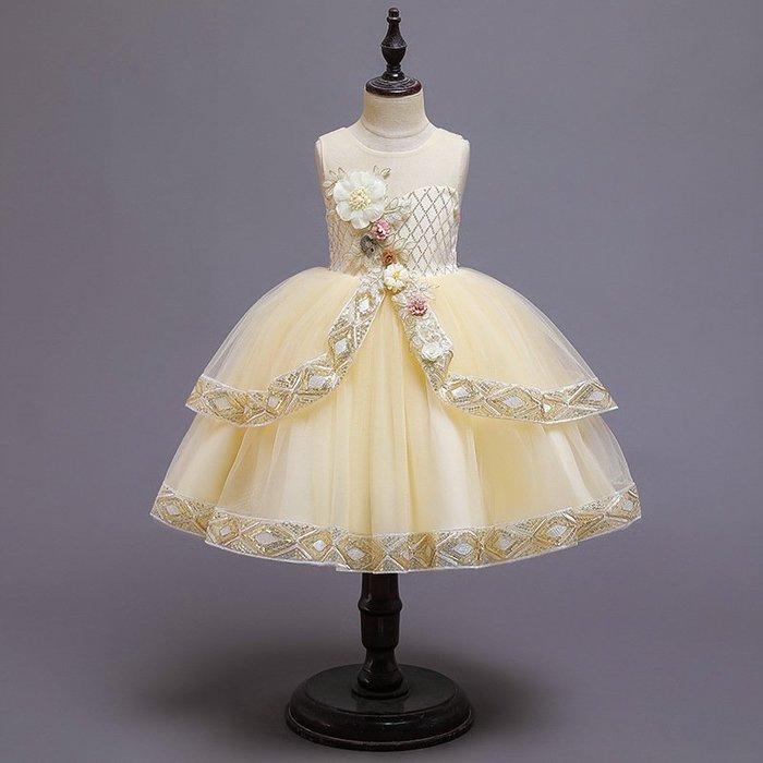 •*~ 辣媽咪衣飾小舖 ~*•❤童裝系列❤K970506韓版大童夏款甜美清新時尚蓬蓬蕾絲亮片可愛公主禮服公主洋裝