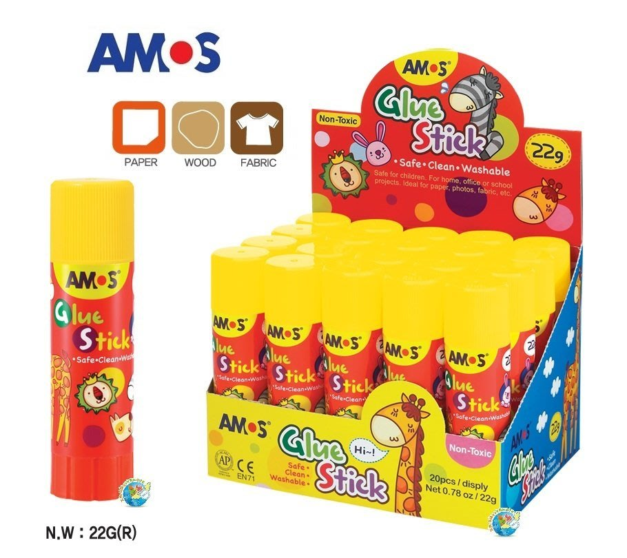 X.H. Baby【韓國 AMOS】Glue Stick (中)學齡專用多用途口紅膠 22G 讓寶貝創作更上手