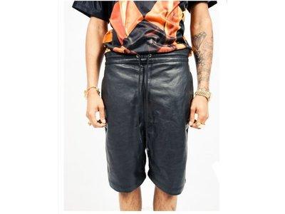 【HYDRA】 IRIDIUM Leather Cotton Jogging Shorts 皮 棉 異材質 拼接 運動短褲  30 / 32  / 34 腰