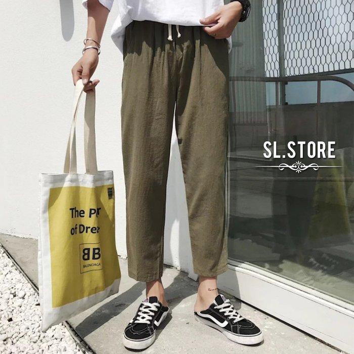 SL Store【CWP937】素面文藝風棉麻九分哈倫休閒長褲.黑/軍綠/灰/M/L/XL/2XL