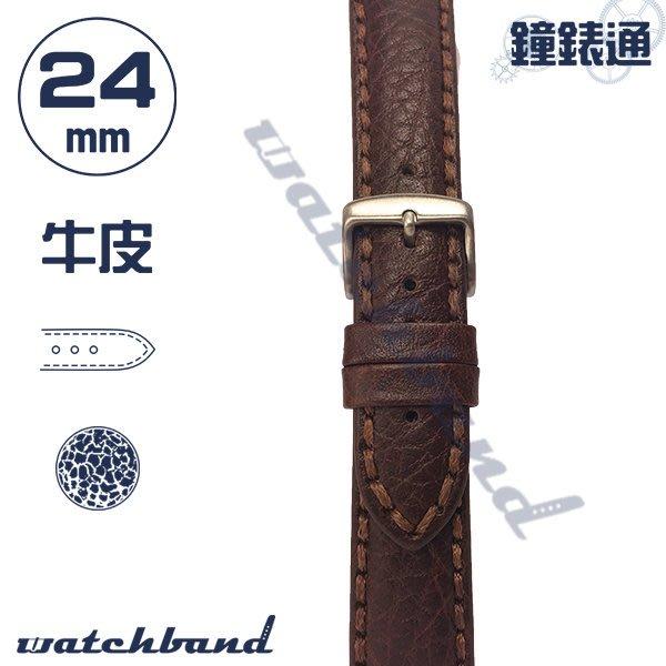 【鐘錶通】C1-02FR《簡約系列》荔枝紋-24mm 經典棕 /手錶錶帶/荔枝紋/牛皮錶帶/