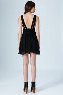 英國製 現貨UK 12 黑色. 英國品牌Rare London 大露背雪紡傘狀裙板洋裝