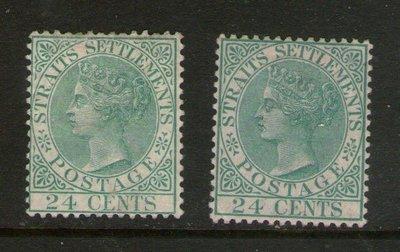 【雲品】馬來亞Malaya S. Setts. 1883 QV SG 68,68a MH 庫號#BF504 66325