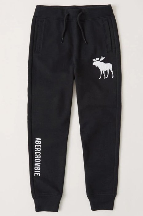 AF A&F Abercrombie & Fitch 麋鹿 黑色 運動褲 棉褲 大男童