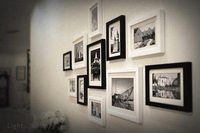 ~ 輕工業 ~相片牆實木11框組 黑白建築 ~ 照片 北歐風極簡 客廳臥房掛畫裝潢餐廳酒吧服飾店工業風