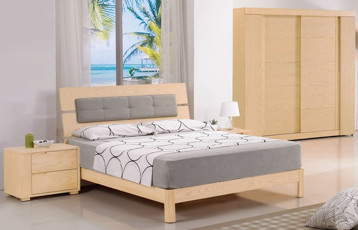 FA- 5尺栓木雙人床組(雙人床+床頭櫃x2+斗櫃+鏡台含椅)大台北區/家具/沙發/系統家具/高低櫃/1元起