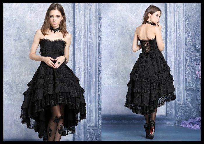 *mini PUNK LOLO*歐洲中古世紀-維多利亞華麗古典暗紋薔薇印花多層次平口哥德洋服(B款.DW039)