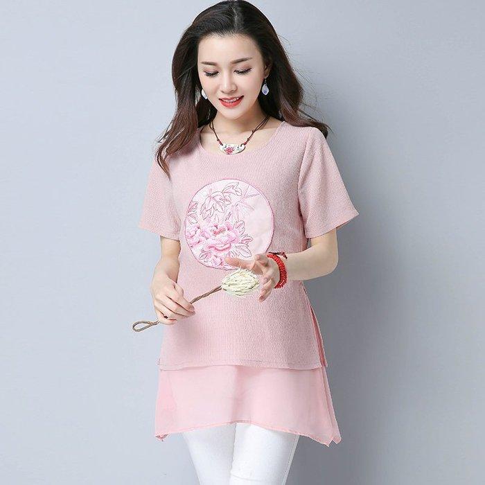 ~Linda~新款民族風女裝夏裝復古刺繡T恤粉色假兩件上衣